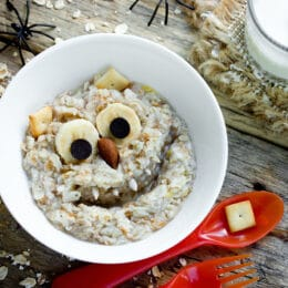 Kids breakfast funny monster porridge