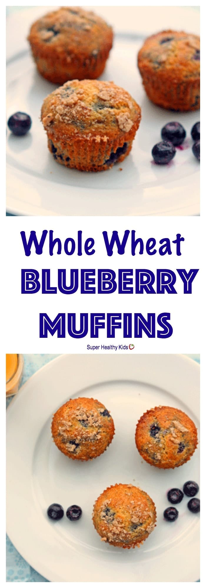 FOOD - Whole Wheat Blueberry Muffins. These muffins are moist, flavorful and delicious..you just get all of that without the guilt. https://www.superhealthykids.com/whole-wheat-blueberry-muffins/