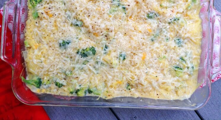photo of cheesy spaghetti squash bake from overhead.