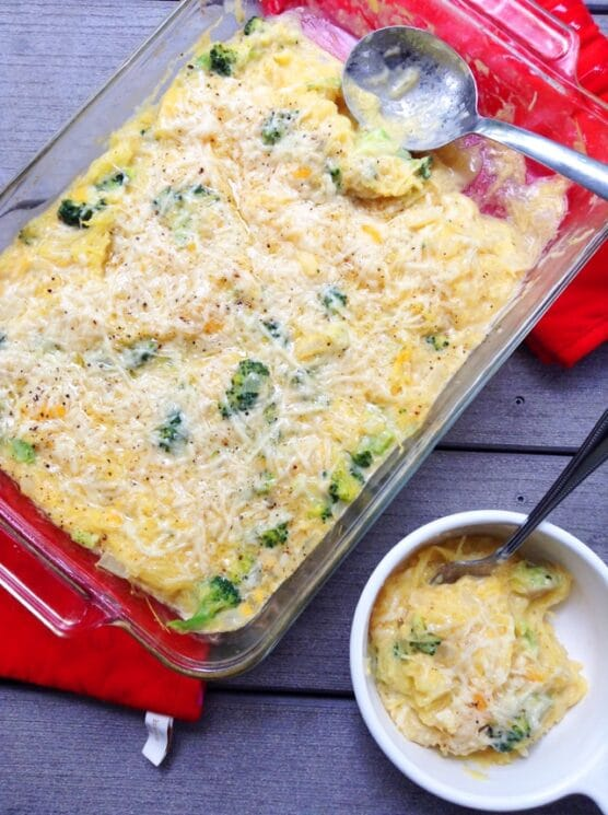 baking dish with spaghetti squash bake and a bowl of it on the side