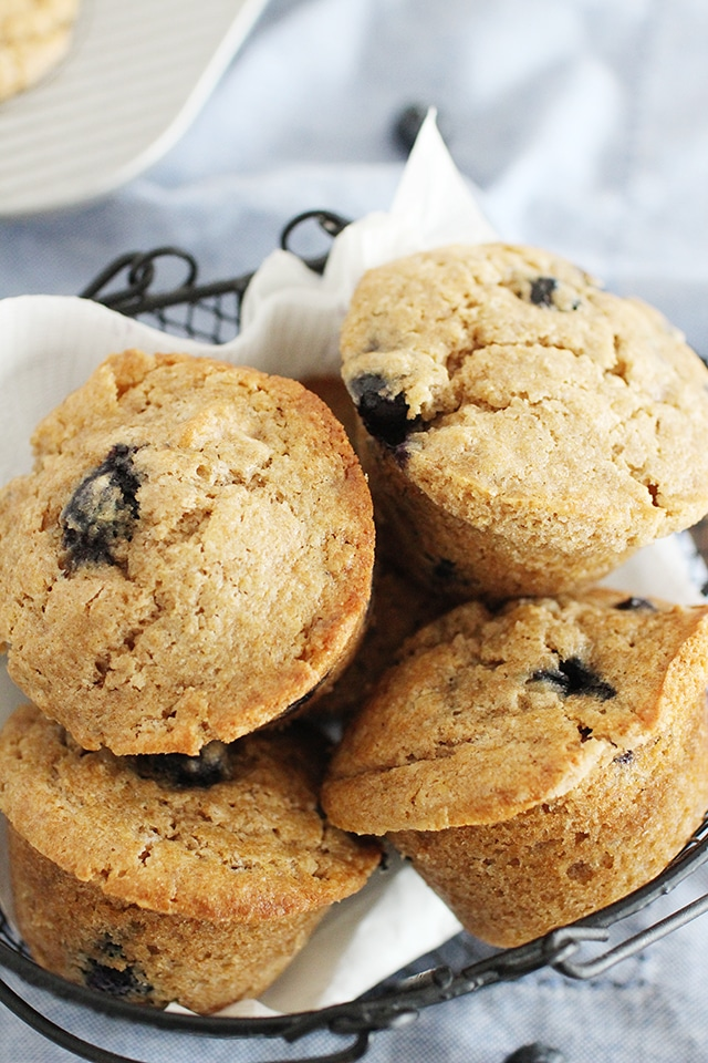 basket of whole wheat blueberry muffins