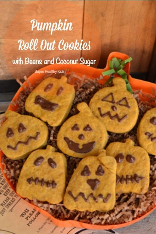 Pumpkin Roll Out Cookies with Beans and Coconut Sugar. Spook & get spooked this Halloween with these delicious pumpkin cookies! https://www.superhealthykids.com/pumpkin-roll-out-cookies-with-beans-and-coconut-sugar/
