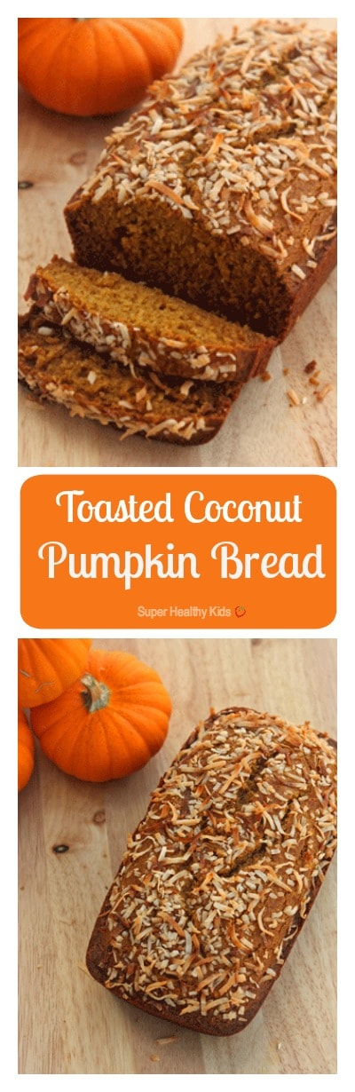 Toasted Coconut Pumpkin Bread. The greatest variation on traditional pumpkin bread! https://www.superhealthykids.com/toasted-coconut-pumpkin-bread/