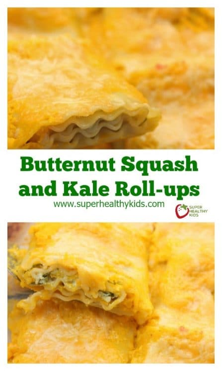 FOOD - Butternut Squash and Kale Roll-ups. DINNER IDEA!! Cheesy and delicious, plus easy to make! https://www.superhealthykids.com/butternut-squash-and-kale-roll-ups/