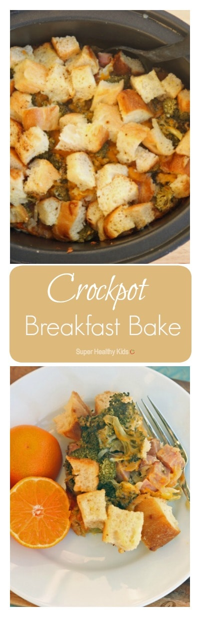 Crockpot Breakfast Bake Recipe. This crockpot idea hits the spot on a cold morning! https://www.superhealthykids.com/crockpot-breakfast-bake/