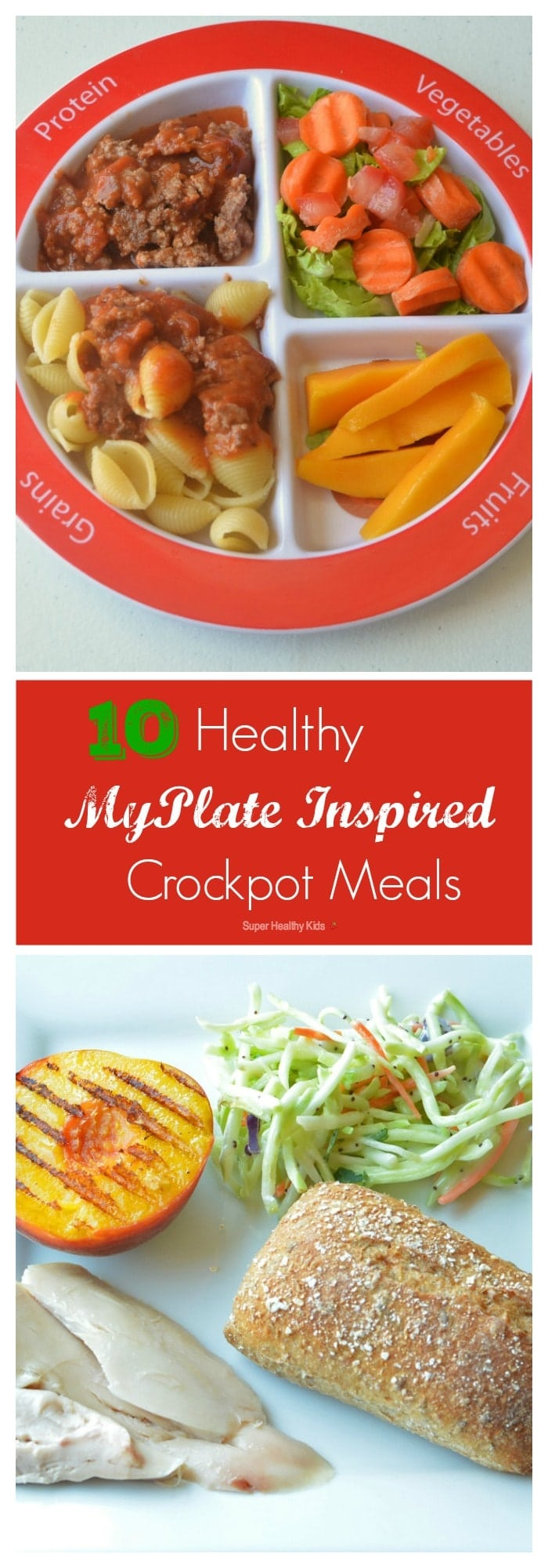 Top 10 Healthy MyPlate Inspired Crockpot Meals. Balanced meals, in a crockpot! https://www.superhealthykids.com/top-10-healthy-myplate-inspired-crockpot-meals/