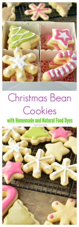 Christmas Bean Cookies with Homemade and Natural Food Dyes. These Christmas cookies are festive and delicious! https://www.superhealthykids.com/christmas-bean-cookies-with-natural-food-dyes/
