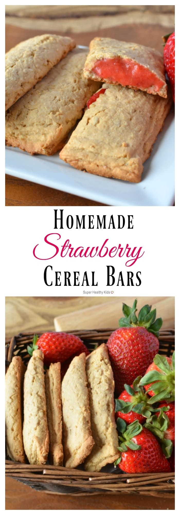 Homemade Strawberry Cereal Bars Recipe. Everyone loves our make at home version of cereal bars! https://www.superhealthykids.com/homemade-cereal-bars/