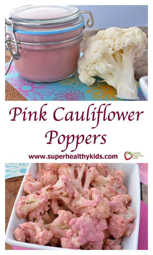 FOOD - Pink Cauliflower Poppers. Blast cauliflower like a pro with this recipe! https://www.superhealthykids.com/pink-cauliflower-poppers/