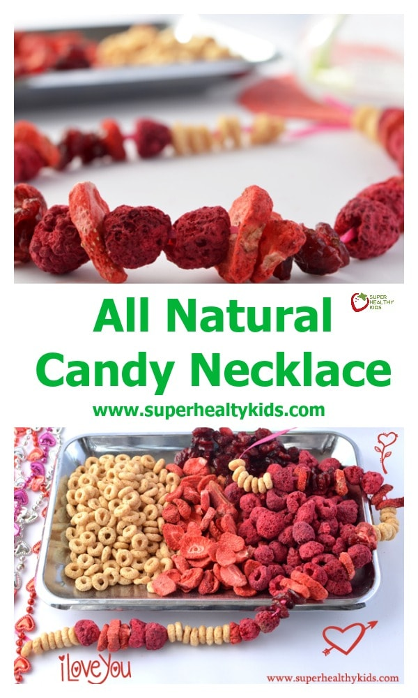 FUN CRAFTS FOR KIDS - All Natural Candy Necklace. Here's a fun (and edible!) Valentine's Day craft! http://www.superhealthykids.com/natures-valentine-candy-necklace/