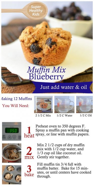 FOOD - Homemade Mixes- Blueberry Muffins. Healthy fast food made easy! https://www.superhealthykids.com/homemade-mixes-blueberry-muffins/
