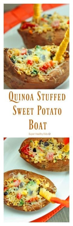 Quinoa Stuffed Sweet Potato Boat Recipe. When you want to boost the protein on a meal that's already super healthy, add quinoa! https://www.superhealthykids.com/quinoa-stuffed-sweet-potato-boats/