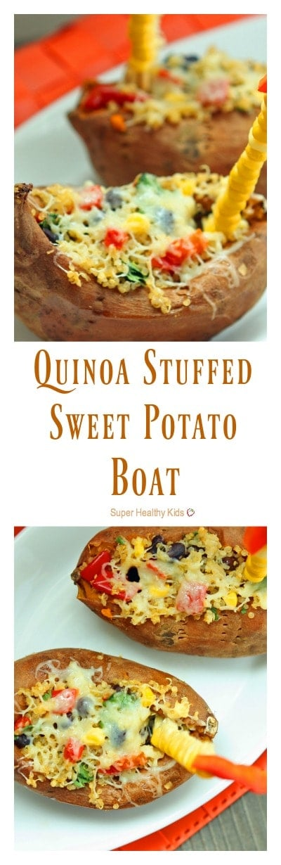 Quinoa Stuffed Sweet Potato Boat Recipe. When you want to boost the protein on a meal that's already super healthy, add quinoa! http://www.superhealthykids.com/quinoa-stuffed-sweet-potato-boats/