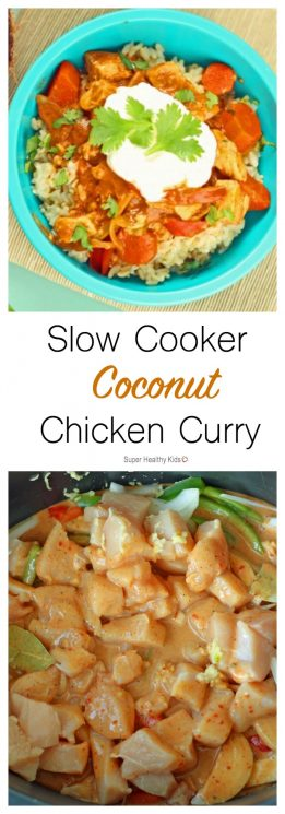 Slow Cooker Coconut Chicken Curry Recipe. Slow cooker meal! Perfect for a Sunday! https://www.superhealthykids.com/slow-cooker-coconut-chicken-curry/