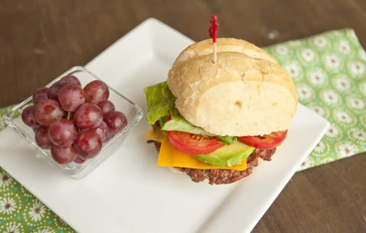 homemade burgers with fruits and veggies, 30 Quick and Easy Last Minute Dinner Ideas