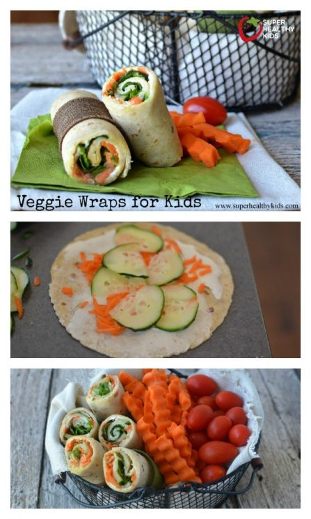 FOOD - Veggie Lunch Wraps. Need a new lunch idea? We love this veggie wrap! They hold together so well without all the fillings coming out! https://www.superhealthykids.com/veggie-lunch-wraps/
