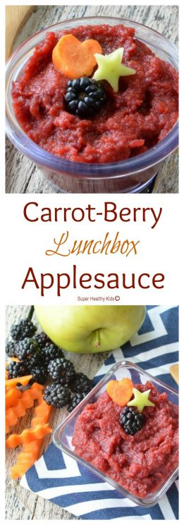 FOOD - Carrot-Berry Lunchbox Applesauce. Combining fruits AND veggies in this favorite lunch box food! https://www.superhealthykids.com/carrot-berry-lunchbox-applesauce/