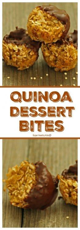 FOOD - Quinoa Dessert Bites. From cooked quinoa, to kids favorite snack! https://www.superhealthykids.com/quinoa-dessert-bites/