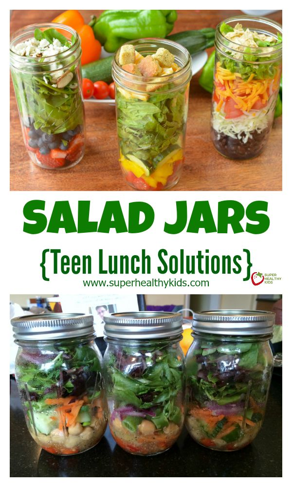 FOOD - Salad Jars. Be prepared! We love this simple way to have a healthy lunch ready to eat, any time! http://www.superhealthykids.com/salad-jars-teen-lunch-solutions/