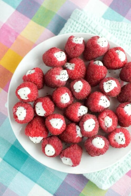 frozen yogurt filled raspberries healthy snack