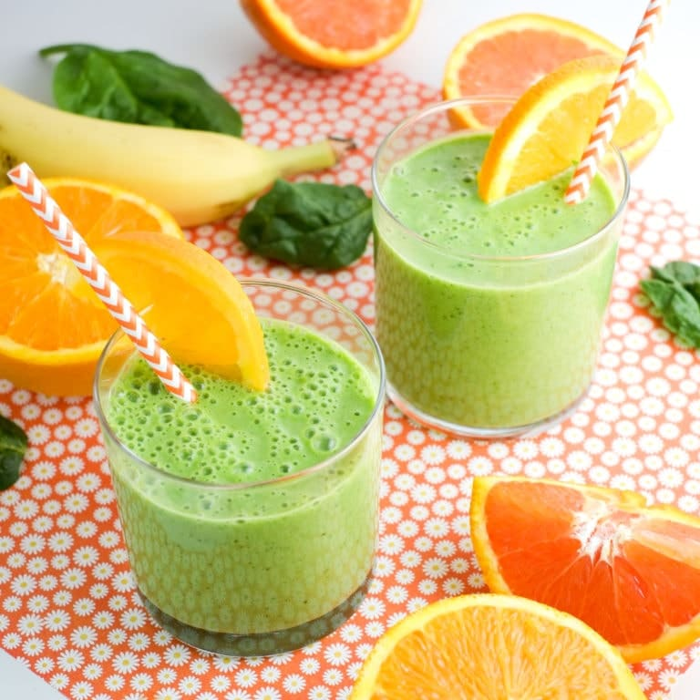 green smoothie with oranges