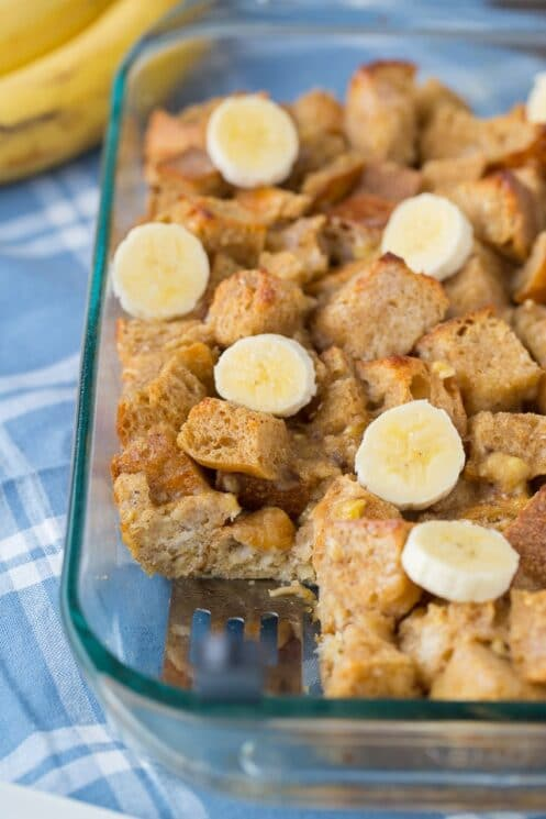 Baked Banana French Toast with cinnamon