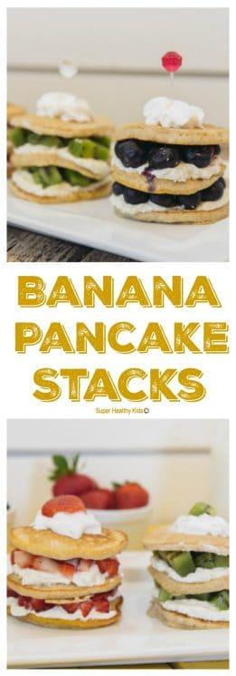 FOOD - Banana Pancake Stacks. These pancake stacks make the perfect birthday (or any day) breakfast! https://www.superhealthykids.com/banana-pancake-stacks/