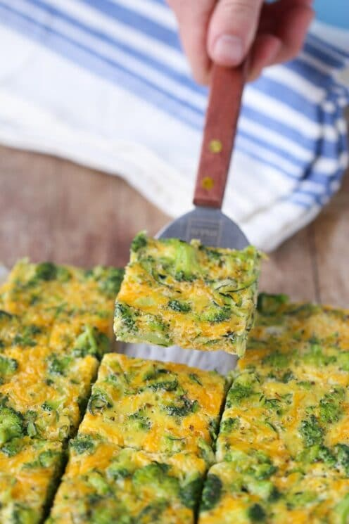 baked egg bars being served on a spatula