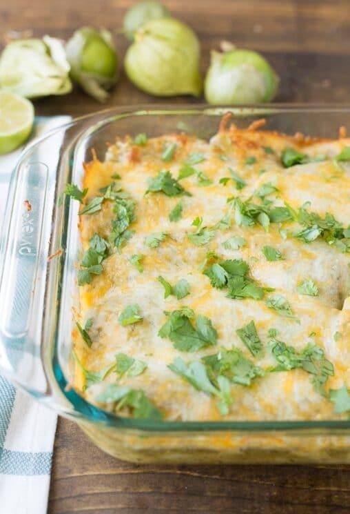 Green Chili Chicken Enchiladas with homemade sauce