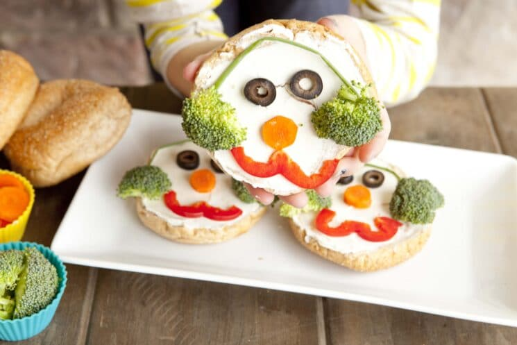Holiday snack idea the snowman bagel