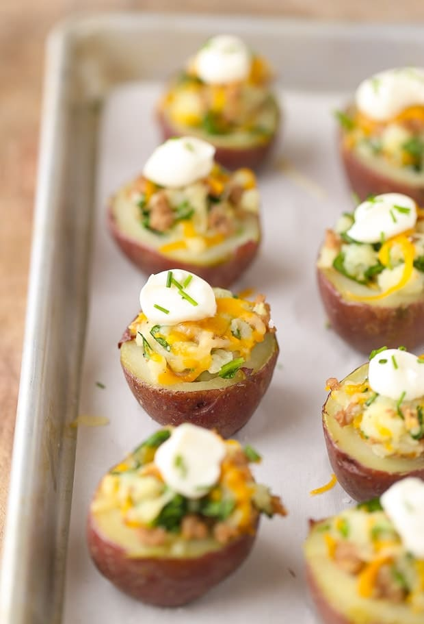 Healthy Irish Potato Bites potatoes with sour cream and cheese