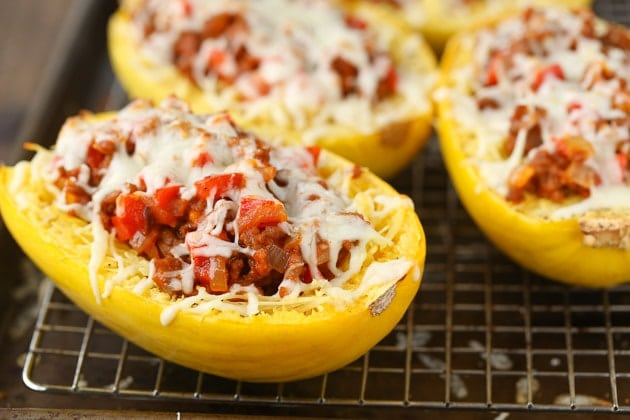Italian Baked Spaghetti Squash with cheese and meat filling