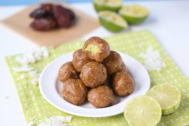 Key Lime Energy Bites with lime filling!