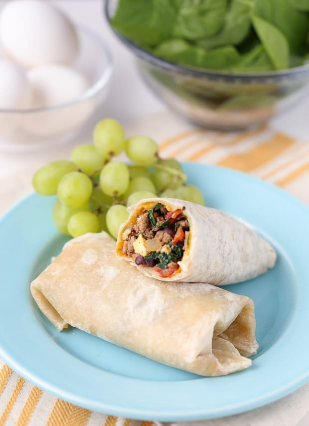 Easy to make Protein Packed Breakfast Burritos, with grapes