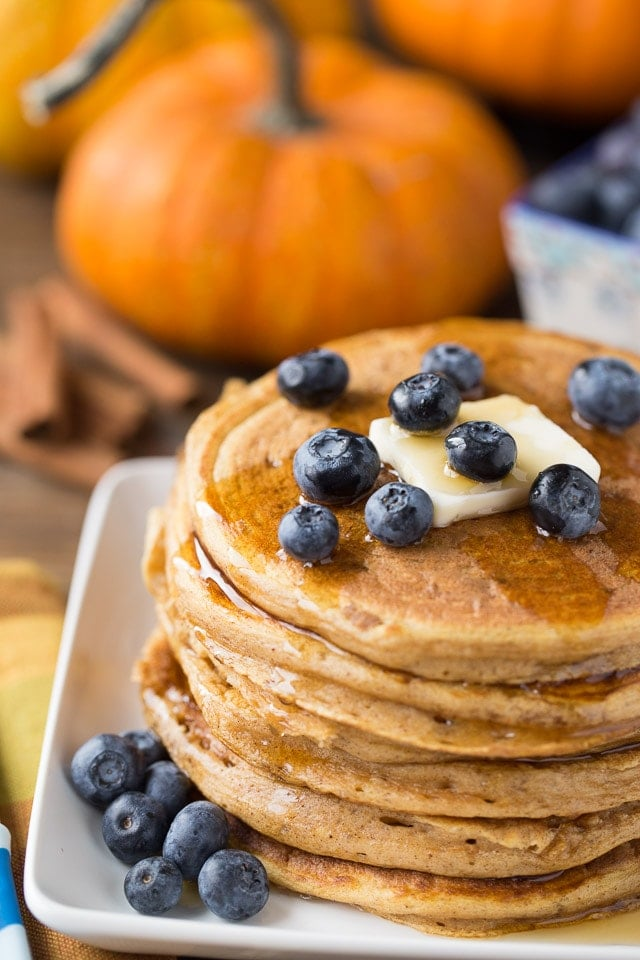 Pumpkin Protein Pancakes made with greek yogurt