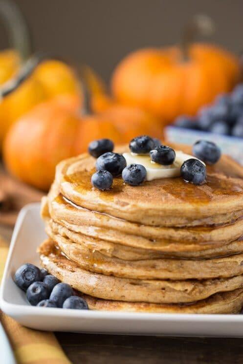 Halloween Breakfast Pumpkin Protein Pancakes
