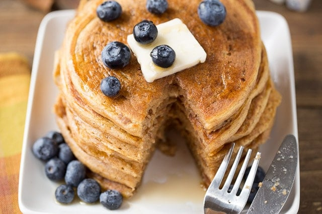 Greek Yogurt Pumpkin Protein Pancakes