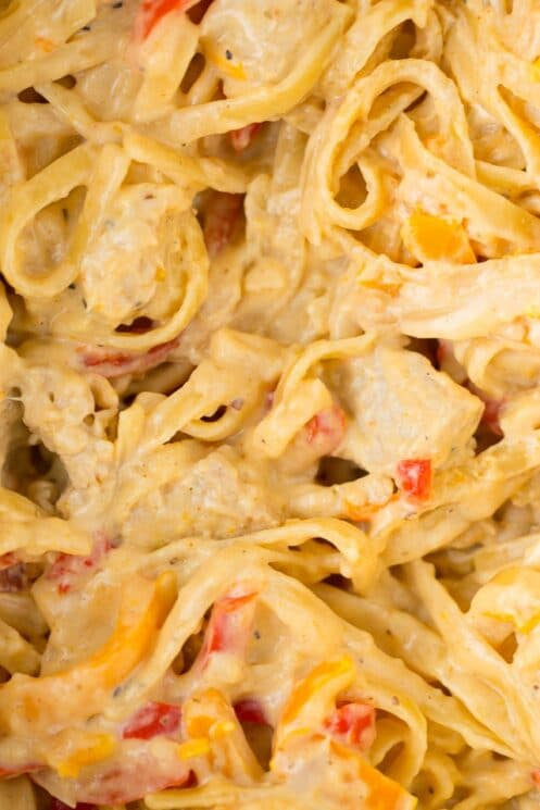 Cheesy Lightened Cajun Chicken Alfredo with Veggies