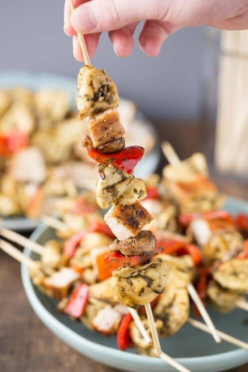 Chicken Pesto Kebabs, easy dinner idea!