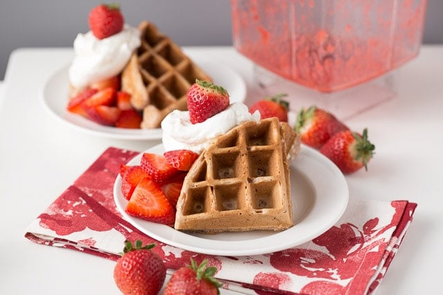 Strawberry Waffles for Valentines Day, Healthy Strawberry Waffles