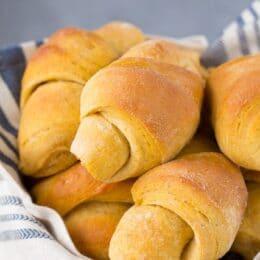 basket full of sweet potato crescent rolls