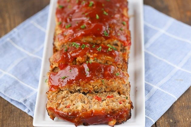 Turkey Meatloaf sliced on a long platter