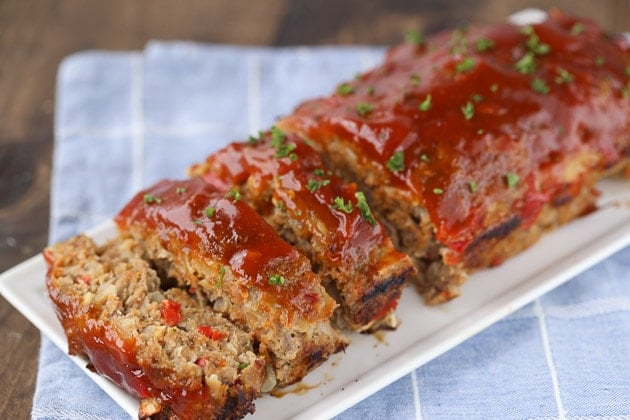 Turkey Meatloaf for dinner on a plate