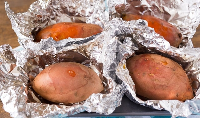 Making Twice Baked Sweet Potatoes