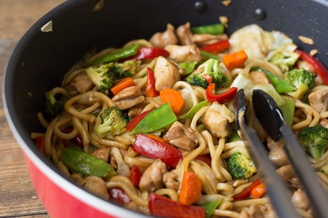 Making Veggie-Packed Chicken Teriyaki Noodle Bowls