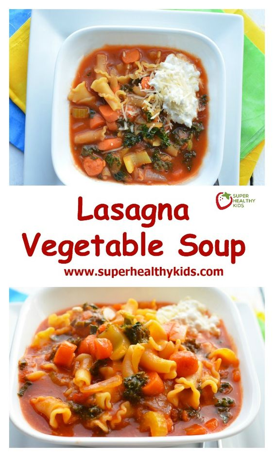 Lasagna Vegetable Soup Recipe. Lasagna soup! How can your kids complain about this?! www.superhealthykids.com/lasagna-vegetable-soup