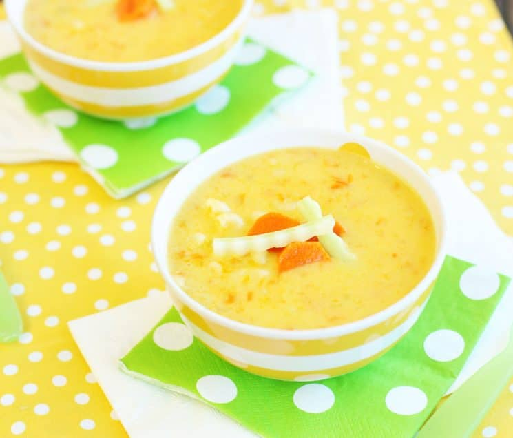 Hidden Veggie Mac and Cheese Soup Recipe. This soup has kids favorite ingredients, just like macaroni and cheese!