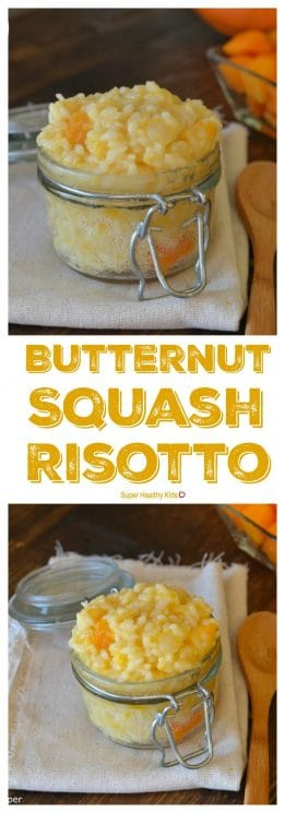 FOOD - Butternut Squash Risotto. We wanted this concentrated source of nutrients in our cheesy side dish for dinner! What we got was SOOOO delicious! https://www.superhealthykids.com/butternut-squash-risotto/