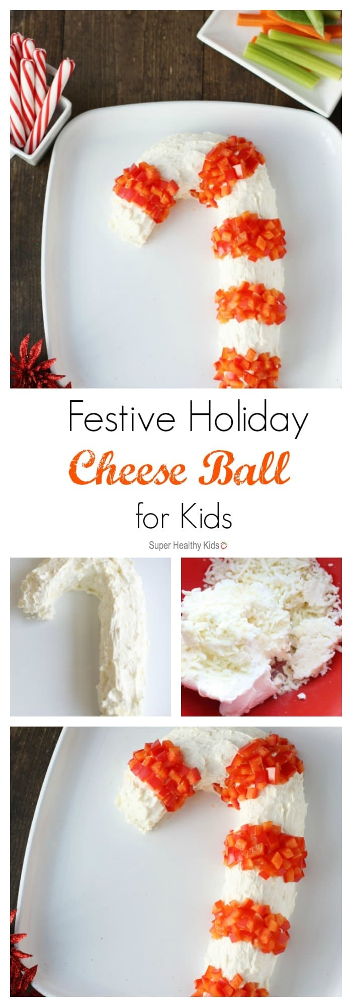 Festive Holiday Cheese Ball for Kids. Here's a cheese appetizer with a festive twist! https://www.superhealthykids.com/festive-holiday-cheese-ball-kids/
