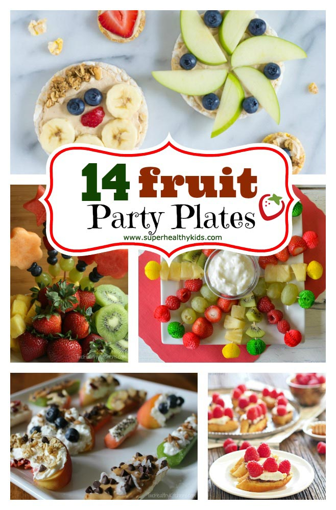 FOOD - 14 Fruit Party Plates. Fruit is our favorite thing to bring to potlucks and parties! Check out our 14 fruit platter ideas here. https://www.superhealthykids.com/14-fruit-party-platters/